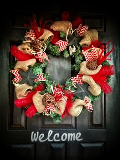 Country Christmas/ You could use a smaller wreath, just build it out with the burlap and the red mesh. Hmmmm....