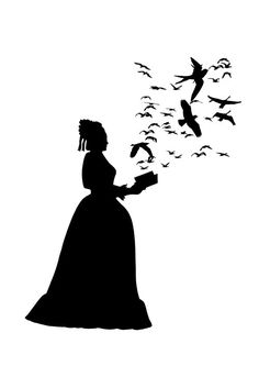 Silhouette Lady with Book Flock of Birds Victorian by emporiumshop