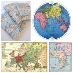 Photos Upper Left and Clockwise: Map Covered Dollar Notebooks from Ruby Murrays Musings here, and the rest of the maps are from Ruby Murrays Musings post on vintage map printables with click through links to places like the Gr Printable Maps, Free Printables, Map Crafts, Map Globe, Vintage Maps, Vintage Travel, Graphics Fairy, Travel Themes, Map Art