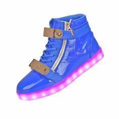 Zapatillas Con Luces Azul Con Metal Plato Y Cremalleras Mujer