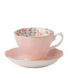 Royal Albert Rose Confetti Vintage Teacup and Saucer | Harrods