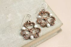 Copper earrings wire work earrings earrings by LenaSinelnikArt