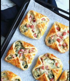 HAM, CHEESE AND SPINACH PUFFS (the perfect breakfast recipe)  - 2 sheets puff pastry   SAUCE:  2 tablespoons butter 2 tablespoons all-purpose flour 1 cup warm milk 1 pinch of salt Freshly cracked black pepper to taste  THE FILLING:  220g cooked ham, diced 2 cups fresh spinach, rinsed and chopped 1 cup Swiss cheese, grated  DIRECTIONS:  Cut pastry into 13cm squares. Set aside in fridge.  Pre-heat oven 200°c. For the sauce: melt butter on medium heat, add flour and salt. Cook, stirring…