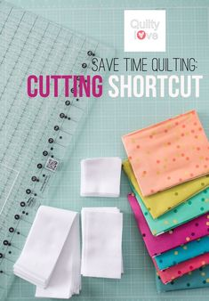 Quilty Love | Save time quilting:  Cutting Shortcuts with the Stripology ruler | http://www.quiltylove.com  Speed up the cutting process during quilting with this fabric cutting shortcut.  Quickly cut strips and squares.