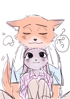 """A fox and a bunny in love"" by: Asuka"