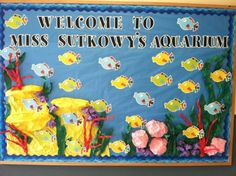 First day of school bulletin board idea.  You can put each of your students' names on each fish.
