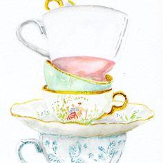Still Life Kitchen Decor Art Print of Original Watercolor Painting -- Teacups. via Etsy.