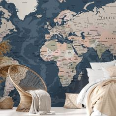 World Map Full Wall Mural Dark Size: Extra Large 350cm x 240cm