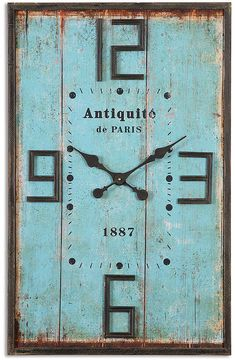 Farmhouse Or Shabby Chic Style Antiquite Wall Clock In Aqua. #affiliate  #farmhouse #
