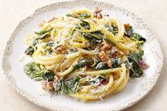 Pecorino has an earthy tang that complements the creamy mascarpone in this 20 minute weeknight wonder. Spinach Recipes, Veggie Recipes, Vegetarian Recipes, Veggie Bake, Veggie Meals, Sauce Recipes, Pasta Recipes, Cooking Recipes, Vegetarian Food