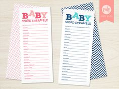 DIGITAL FILE Baby Word Scramble  Baby Shower by PulpPaperGoods, $8.00