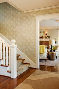 geometric wallpaper in entry