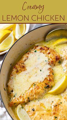 Turkey Recipes, Chicken Recipes, Dinner Recipes, Creamy Lemon Chicken, Chicken Lemon Cream Sauce, Healthy Lemon Chicken Recipe, Lemon Chicken Pasta, Baked Chicken, Cooking Recipes