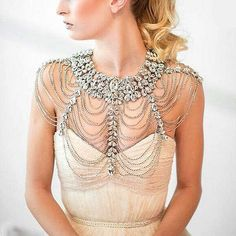SIA Rhinestone Crystal Bridal Bust Halter Necklace