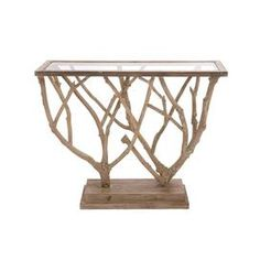 "Lend a touch of visual appeal to your entryway or living room with this eye-catching console table, showcasing a glass top and branch-inspired wood base.  Product: Console tableConstruction Material: Wood and glassColor: BrownFeatures: Branch-inspired designDimensions: 36"" H x 45"" W x 15"" D"