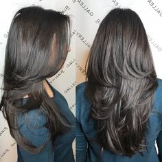 layered hair Long Thick Hair Cut with Medium Layers Round brushing is a styling technique for layered haircuts for long hair. Stylists wrap damp hair in these super-large round brush Haircuts For Long Hair With Layers, Long Layered Haircuts, Haircut For Thick Hair, Long Hair Cuts, Straight Hairstyles, Layered Hairstyles, Long Hair Short Layers, Short Haircuts, Formal Hairstyles