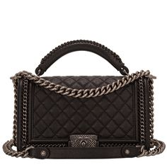 Chanel Black Quilted Calfskin Medium Boy Bag With Handle and ruthenium hardware