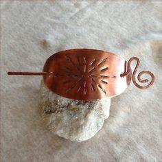 Hair slide Handmade Artisan Barrette Gold Copper accessories Sunburst design