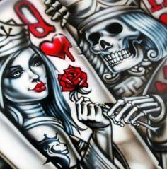 Queen and king of hearts Og Abel Art, Queen Of Hearts Card, King Of Hearts, Playing Card Tattoos, Playing Cards, Poker, Kings & Queens, Lowrider Art, Decks