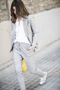 """justthedesign: """" We are loving Alexandra Pereira's androgynous summer style! In a two piece suit worn over a simple white tee, Alexandra is rocking a classic suit with an edgy vibe which we adore! Sneakers: Voile Blanche, Suit/Tee: Zara, Bag:..."""