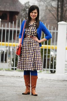 brown and blue midi dress