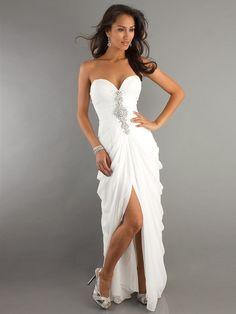 Cheap Strapless Sweetheart Chiffon Long Prom Dresses
