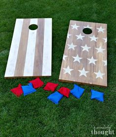 DIY Cornhole Boards - A Wonderful Thought Great tutorial on how to make DIY cornhole boards aka bean bag toss Learn how to make your own set of DIY cornhole boards with this easy tutorial. It is a perfect game to play in your backyard or during camping. Cornhole Designs, Diy Yard Games, Diy Games, Backyard Games, Lawn Games, Diy Wedding Yard Games, Wedding Ideas, Bean Bag Boards, Diy Bean Bag