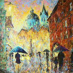 "Vladimir Domnicev ""Prague. The evening. it rains"" Acryl of painting knife technic"