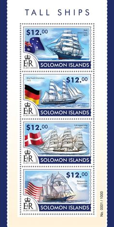 Post stamp Solomon Islands SLM 15310 aTall ships (Bark James Craig, 1874, Brig Roald Amundsen, 1952, Full-rigged ship Danmark, 1932, Barquentine Peacemaker, 1989)