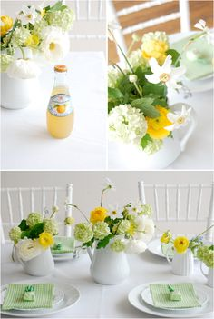 yellow & white tablescape