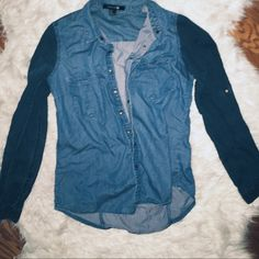 Two toned Jean button up top. Two toned Jean button up top. Size is medium but can fit small-medium. Brand is forever 21. H&M Tops Button Down Shirts