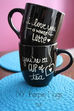 If your mug costs you too much, make it yourself. All you need is one colored mug, in a color by your choice, markers designed for mugs (but remember to buy dishwasher free and food safe!) and an oven.