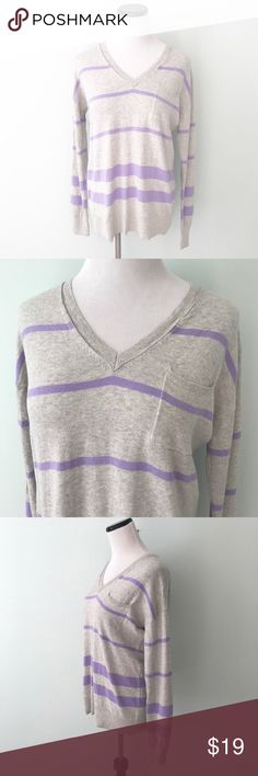 "GAP Gray lavender striped V-neck Sweater Gently worn. Chest 20.5"". Length 25.5"". Gray and purple striped sweater. 100% cotton. GAP Sweaters V-Necks"