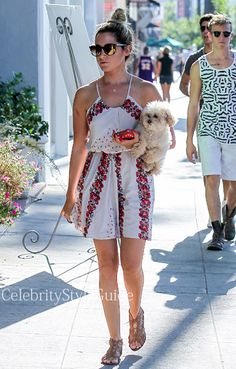 Ashley Tisdale In A Cute White and Red Floral Sundress Out With Her Dog  Get Ashley's Dress Here: http://rstyle.me/~2mvCM