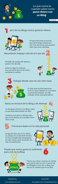 Lo que nunca te cuentan sobre cómo ganar dinero con un Blog #infografía
