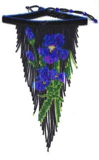 Midnight Iris Fringe Necklace : Beading Patterns and kits by Dragon! Fringe Necklace, Floral Necklace, Seed Bead Necklace, Beaded Necklace, Beaded Jewelry Patterns, Beading Patterns, Bead Loom Bracelets, Jewelry Making Tutorials, Beads And Wire
