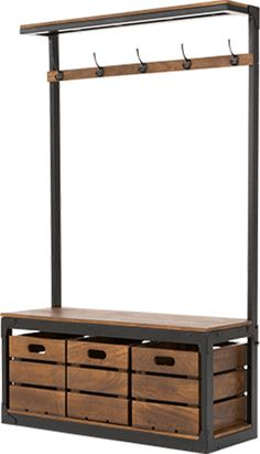 Layne Large Hall Stand, Black and Mango Wood - Flur Entrance Hall Furniture, Entryway Stairs, Hallway Furniture, Furniture Decor, Mango Wood Furniture, Coat Stand Hallway, Hallway Coat Storage, Porch Storage, Hallway Unit