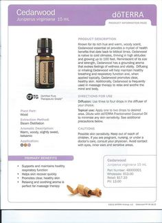 I love the aroma of cedarwood essential oil, but I've so far only used it in store-bought blends. I'm looking forward to an opportunity to try the oil directly in some of the ways suggested on this information sheet. /NSC