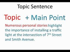How to write an excellent topic sentence?