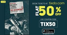 Watch #TheAccountant in theatres this Friday! Book your #movietickets now In just #Halftheprice Apply #Couponcode #TIX50 only on https://tixdo.com/ and avail #flat50% Off on every #Booking