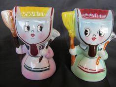 Vintage PY Dust Pan Head Ladies Anthropomorphic Salt & Pepper Shaker Set, Japan #PYNapcoMiyao
