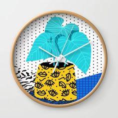 Totes magoats - memphis throwback retro house plant squiggle dot polka dot neon style art Wall Clock by wacka Garden Nursery, 80s Style, Wheelbarrow, 80s Fashion, Memphis, House Plants, 1980s, Totes, Whimsical