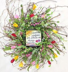 Welcome Wreath Spring Wreath Spring Door by CrookedTreeCreation