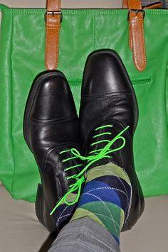 Florsheims w/ green laces, argyle socks…