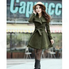 Women's Fashion Large Lapel Slim Coat - Army Green (L)
