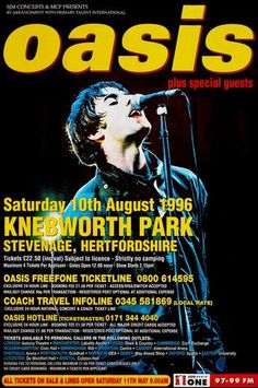 Original Oasis Knebworth poster for the fastest selling ticket in concert history at Knebworth Park at the time, known as the defining weekend in Britpop. Tour Posters, Band Posters, Banda Oasis, Oasis Band, Rock Y Metal, Pops Concert, Music Express, Liam Gallagher, Rock Music