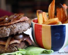 Grilled Turkey Burger with Marabel and Sweet Potato Fries