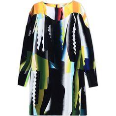 Kenzo Short Dress (28,820 PHP) ❤ liked on Polyvore featuring dresses, black, black mini dress, colorful dresses, black print dress, pattern dress and black longsleeve dress