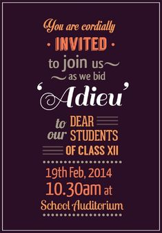 Farewell Party Invitation For Students