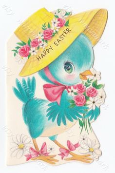 Happy Easter Card - Instant Download - Vintage Easter Card, 1940s - Bluebird wearing hat, floral bird by vtgimg on Etsy https://www.etsy.com/listing/271623851/happy-easter-card-instant-download